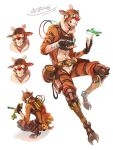 1boy animal_costume apex_legends black_gloves brown_headwear carrot clenched_hand fingerless_gloves food gloves googly_eyes highres holding holding_food iwamoto_zerogo looking_down looking_up mask multiple_views octane_(apex_legends) reindeer_costume spinning squatting white_background