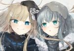 2girls :o ahoge bangs black_headwear blonde_hair blue_eyes blush cape commentary_request eyebrows_visible_through_hair fate_(series) flower fur-trimmed_cape fur_collar fur_trim gray_(fate) green_eyes grey_flower grey_hoodie hat highres hood hood_up hoodie long_hair looking_at_another lord_el-melloi_ii_case_files multiple_girls portrait reines_el-melloi_archisorte rorikon_shinshi smile snowflakes