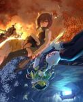 2boys 2girls admiral_(kancolle) aircraft alexzhang bangs black_legwear blue_eyes brown_eyes brown_hair bug butterfly closed_eyes crossover crying dated epaulettes fire flower frilled_hat frills green_hair hat headgear highres holding insect kantai_collection lap_pillow long_sleeves multiple_boys multiple_girls pleated_skirt red_flower rod_of_remorse shiki_eiki short_hair sidelocks sin_sack skirt smoke spider_lily taihou_(kancolle) tears thigh-highs torii touhou water watercraft white_flower