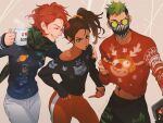 1boy 2girls :o apex_legends brown_eyes brown_hair christmas_sweater closed_eyes clothes_lift collarbone crossed_legs cup dark_skin dark_skinned_female forehead_jewel green_hair grey_pants hair_behind_ear holding holding_cup horizon_(apex_legends) iwamoto_zerogo mug multiple_girls octane_(apex_legends) off_shoulder pants plaid plaid_scarf rampart_(apex_legends) scarf short_hair side_ponytail smile sweater sweater_lift sweatpants undercut