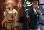 2girls belt blonde_hair blue_suit breasts brown_belt brown_jacket brown_pants brown_suit collarbone commentary commentary_request eyebrows_visible_through_hair formal girls_frontline green_eyes hair_ornament hair_ribbon highres holding holding_clothes holding_jacket holding_letter holding_phone holding_wand holster jacket jewelry letter long_hair looking_at_viewer looking_away m1903_springfield_(girls_frontline) multiple_girls navel necklace orange_hair ots-14_(girls_frontline) pants phone ponytail ribbon silayloe simple_background standing star_(symbol) star_necklace suit wand witch yellow_eyes