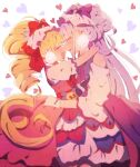 2girls absurdres aisaki_emiru bare_shoulders blonde_hair blush bow closed_eyes commentary_request cure_amour cure_macherie dress earrings gloves grgrton hair_bow happy highres hugtto!_precure jewelry layered_dress long_hair looking_at_another magical_girl multiple_girls open_mouth pink_dress pom_pom_(clothes) pom_pom_earrings precure puffy_short_sleeves puffy_sleeves purple_bow purple_dress purple_hair red_bow ruru_amour short_sleeves smile twintails white_gloves yuri
