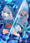 1girl artist_name bloop_(gawr_gura) blue_eyes blue_theme gawr_gura holding holding_weapon hololive hololive_english looking_at_viewer minxei open_mouth polearm reward_available shark smile trident underwater virtual_youtuber watermark weapon white_hair