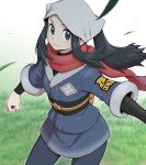 1girl black_hair clenched_hand closed_mouth commentary eyelashes female_protagonist_(pokemon_legends:_arceus) floating_hair floating_scarf grass grey_eyes grey_legwear head_scarf highres leaves_in_wind long_hair looking_at_viewer nutkingcall pantyhose pokemon pokemon_(game) pokemon_legends:_arceus ponytail red_scarf sash scarf sidelocks smile solo white_headwear