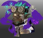 1boy aqua_hair arknights beard dark_skin ethan_(arknights) facial_hair frischenq goggles goggles_on_head looking_at_viewer pointy_ears solo white_eyes