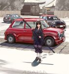 1girl :d animal_ears architecture arknights artist_name asama_(drift_in) black_hair car commentary dog_ears east_asian_architecture english_commentary facial_mark forehead_mark full_body geta ground_vehicle hand_wraps highres holding japanese_clothes kimono knee_pads long_hair mini_cooper motor_vehicle open_mouth outdoors pants purple_kimono purple_pants saga_(arknights) shadow smile solo standing white_legwear yellow_eyes