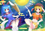 2girls animal_ears bamboo bangs barefoot blonde_hair bloomers blue_dress blue_hair blush breasts brown_headwear cabbie_hat closed_mouth collarbone commentary_request crescent_print crop_top crossed_legs dress eyebrows_visible_through_hair floppy_ears foot_out_of_frame frills full_moon hat highres holding holding_mallet kine long_hair looking_at_viewer low_twintails mallet midriff mochi mochi_trail moon multiple_girls navel night night_sky no_shoes orange_shirt orange_shorts outdoors puffy_short_sleeves puffy_sleeves rabbit_ears red_eyes seiran_(touhou) shirt short_hair short_sleeves shorts sky small_breasts smile star_(sky) star_(symbol) star_print touhou twintails underwear white_bloomers white_legwear yuujin_(yuzinn333)