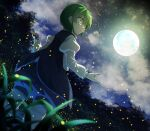 1girl :o antennae bangs black_cape blue_shorts blurry blurry_foreground cape clouds cloudy_sky dutch_angle feet_out_of_frame fireflies from_below full_moon green_eyes green_hair hair_between_eyes highres juliet_sleeves kakutasu_(akihiron_cactus) long_sleeves looking_to_the_side moon night night_sky outdoors parted_lips puffy_sleeves shirt shorts sky solo standing star_(sky) touhou tree white_shirt wriggle_nightbug