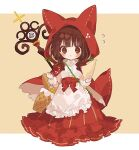 1girl animal_ears apron bangs basket blush bow bow_dress braid bread brown_eyes brown_hair cape character_request dress food frilled_apron frilled_dress frills hibi89 holding holding_basket holding_paper hood looking_at_viewer low_twin_braids merc_storia paper red_bow red_cape red_hood red_skirt skirt solo sweatdrop twin_braids white_apron