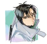 1boy apex_legends black_eyes black_hair cropped_torso crypto_(apex_legends) cyborg expressionless from_above grey_jacket husagin jacket looking_back male_focus parted_hair science_fiction solo upper_body