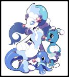 :d artsy-rc black_border border brionne closed_mouth fang gen_7_pokemon highres no_humans open_mouth own_hands_together pokemon pokemon_(creature) popplio primarina signature simple_background smile starter_pokemon white_background