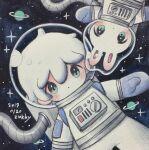 1boy aqua_eyes astronaut blush dated highres no_nose original planetary_ring short_hair signature solo space_helmet spacesuit white_hair zukky000