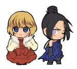 2girls alternate_costume apex_legends black_gloves black_hair blue_dress blue_eyes blush chibi dress elbow_gloves frown fur_trim gloves hair_behind_ear hair_bun husagin lichtenberg_figure multiple_girls one_eye_closed red_dress red_gloves scar scar_on_cheek scar_on_face shawl short_hair smile violet_eyes wattson_(apex_legends) wraith_(apex_legends)