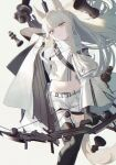 1girl animal_ears arknights bangs bow chess_piece grey_eyes highres holding holding_weapon horse_ears ji_mag_(artist) kneehighs long_hair long_sleeves looking_at_viewer pale_skin platinum_(arknights) shirt shorts solo stomach weapon white_shirt
