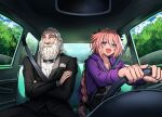 2boys absurdres astolfo_(fate) bangs beard black_jacket black_pants black_ribbon black_skirt blue_sky blush bow bowtie braid car_interior clip_studio_paint_(medium) closed_mouth clouds commentary_request commission cowboy_shot crop_top crossed_arms day driving eudetenis eyebrows_visible_through_hair facial_hair fang fate/apocrypha fate_(series) father_and_son formal hair_ribbon highres jacket long_braid long_hair long_sleeves looking_to_the_side male_focus multicolored_hair multiple_boys old old_man open_mouth otto_of_england pants pink_hair pocket_square purple_hair purple_jacket ribbon seatbelt shirt short_hair single_braid skin_fang skirt sky smile streaked_hair suit tree violet_eyes white_hair white_shirt