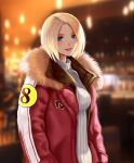 1girl absurdres alternate_costume blonde_hair blue_eyes blue_mary blurry blurry_background booger_wang breasts casual coat collar fatal_fury forehead fur_collar hands_in_pockets highres lips looking_at_viewer medium_breasts night open_clothes open_coat parted_hair red_collar ribbed_sweater short_hair smile solo straight_hair sweater the_king_of_fighters turtleneck turtleneck_sweater white_sweater winter_clothes winter_coat