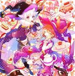 1boy 1girl belt black_cloak black_gloves bow brown_belt brown_hair cake candy cherry_blossoms cloak closed_eyes cup cupcake eating food fork fruit gloves hand_on_own_face hat hat_bow hibi89 holding holding_plate long_sleeves merc_storia pants plate polka_dot purple_skirt shirt skirt smile soiree_(merc_storia) sparkle sphera_(merc_storia) strawberry strawberry_shortcake swiss_roll tea teacup teapot violet_eyes white_hair white_shirt witch_hat wizard_hat