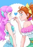 2girls bare_shoulders blue_eyes blush_stickers closed_mouth cosmetics green_eyes heart highres holding holding_lipstick_tube itou_shin'ichi laura_(precure) lipstick lipstick_tube long_hair looking_at_another makeup mermaid midriff monster_girl multiple_girls natsuumi_manatsu orange_hair pink_hair ponytail precure short_hair smile tropical-rouge!_precure