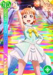armpits blush character_name dress love_live!_school_idol_festival love_live!_sunshine!! orange_hair red_eyes short_hair smile takami_chika