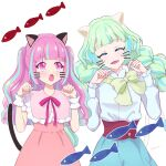 2girls :d :o ^_^ ^o^ aikatsu!_(series) aikatsu_planet! animal_ears ann_(aikatsu!) aqua_eyelashes artist_name bangs blue_hair blue_skirt blunt_bangs blush bow bowtie braid cat_day cat_ears cat_tail chisaca closed_eyes colored_eyelashes commentary_request diamond_(symbol) drawn_ears drawn_tail drawn_whiskers dress eyebrows_visible_through_hair facing_viewer fish green_hair green_neckwear hands_up high-waist_skirt highres kurimu_an long_hair looking_at_another loose_bowtie multicolored multicolored_eyes multicolored_hair multiple_girls neck_ribbon open_mouth paw_pose pink_dress pink_eyes pink_hair pink_ribbon q-pit ribbon shirt simple_background skirt smile streaked_hair tail tsukishiro_ayumi twin_braids twintails two_side_up upper_body very_long_hair violet_eyes white_background white_shirt wrist_cuffs