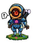! 1boy apex_legends blue_flower bug butterfly chibi flower highres humanoid_robot husagin insect looking_at_viewer no_humans one-eyed open_hands pathfinder_(apex_legends) pink_flower red_eyes science_fiction solo spoken_exclamation_mark standing white_background yellow_flower