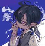 1boy ahoge black_hair brown_neckwear cigarette earrings final_fantasy final_fantasy_xiv fingernails from_side grey_vest hand_up holding holding_cigarette jewelry lalafell long_sleeves looking_at_viewer looking_to_the_side male_focus necktie parted_lips rosette_(yankaixuan) shirt smoke smoking solo vest violet_eyes white_shirt