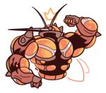 artsy-rc buzzwole commentary cropped_torso crown drawn_crown drawn_wings english_commentary flexing gen_7_pokemon hand_up highres no_humans pokemon pokemon_(creature) pose signature simple_background solo ultra_beast upper_body white_background