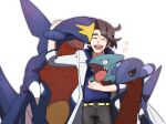 1boy augustine_sycamore brown_hair closed_eyes collared_shirt commentary_request gabite garchomp gen_4_pokemon gible heart highres labcoat male_focus medium_hair morio_(poke_orio) open_mouth pants pokemon pokemon_(creature) pokemon_(game) pokemon_xy shirt simple_background smile teeth tongue white_background |d