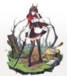 1girl absurdres acco_(sh_in) animal_ears apron black_legwear black_skirt braid breasts brown_hair cape corset fake_animal_ears faux_figurine frilled_skirt frills full_body garter_straps gradient_hair hair_over_shoulder hairband highres holding holding_sword holding_weapon long_hair long_sleeves looking_at_viewer lucia_(punishing:_gray_raven) medium_breasts miniskirt multicolored_hair punishing:_gray_raven rabbit_ears red_cape red_ribbon redhead ribbon shiny shiny_hair shirt simple_background skirt solo standing sword thigh-highs torn_cape torn_clothes torn_skirt twin_braids waist_apron weapon white_apron white_background white_shirt zettai_ryouiki