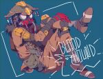 1other ambiguous_gender apex_legends bloodhound_(apex_legends) blue_background cable character_name crossed_legs from_side fur_trim goggles hands_on_own_leg hands_together helmet knee_pads looking_at_viewer mask mizu_cx mouth_mask sitting