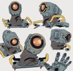 1boy apex_legends grey_background head_tilt highres looking_ahead looking_at_viewer looking_to_the_side looking_up multiple_views no_humans one-eyed orange_eyes pathfinder_(apex_legends) robot science_fiction waving y_(user_rjry7778)