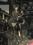 bangs bare_shoulders black_hair book book_stack candle candlelight candlestand child closed_mouth commentary_request green_eyes highres holding holding_book japanese_clothes kuro_the_divine_heir long_sleeves open_book petals pot sekiro:_shadows_die_twice sitting solo stairs symbol_commentary taisowbukurow wooden_floor