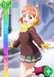 blush character_name jacket love_live!_sunshine!! orange_hair red_eyes short_hair smile takami_chika