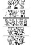 3girls afterimage animal_ears arabian_oryx_(kemono_friends) bag bangs bare_shoulders blush camisole cellval chibi elbow_gloves eyebrows_visible_through_hair gazelle_ears gazelle_horns gazelle_tail gloves grabbing greyscale highres holding holding_weapon kemono_friends kemono_friends_3 kotobuki_(tiny_life) long_sleeves looking_at_another medium_hair monochrome multicolored_hair multiple_girls nose_blush pants pointing pointing_at_another polearm shirt short_over_long_sleeves short_sleeves shoulder_bag skirt struggling sweat sweating_profusely tail tail_grab tail_through_clothes thomson's_gazelle_(kemono_friends) translation_request trembling weapon