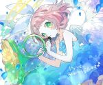1girl angel_wings bangs bare_shoulders blue_dress blunt_bangs blush bow character_request dress feathered_wings flower green_eyes hair_bow hibi89 holding holding_flower holding_instrument instrument looking_at_viewer merc_storia off-shoulder_dress off_shoulder petals short_hair sleeveless sleeveless_dress solo white_bow wings