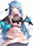1girl absurdres barefoot blue_eyes blue_hair breasts bug butterfly demon_tail demon_wings earrings hair_ornament hairclip hatsune_miku highres insect jewelry kazanock long_hair medium_breasts no_pants pubic_tattoo sitting solo tail tattoo twintails very_long_hair vocaloid wings
