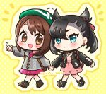 2girls :d artist_name asymmetrical_bangs backpack bag bangs black_collar black_footwear black_jacket blue_eyes blush boots brown_eyes brown_footwear brown_hair cardigan chibi closed_mouth collar collarbone collared_dress commentary dress earrings english_commentary eyebrows_visible_through_hair gloria_(pokemon) green_headwear green_legwear grey_cardigan hair_between_eyes hat high_heel_boots high_heels highres holding_hands hood hood_down hooded_cardigan jacket jewelry long_sleeves marnie_(pokemon) mono_land multiple_girls notice_lines open_clothes open_jacket open_mouth outstretched_arm pink_dress plaid plaid_legwear pokemon pokemon_(game) pokemon_swsh polka_dot polka_dot_background puffy_long_sleeves puffy_sleeves smile socks tam_o'_shanter twintails yellow_background