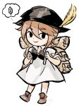 1girl aubz bag brown_hair chibi dress green_eyes hat highres jewelry looking_at_viewer necklace octopath_traveler short_hair simple_background smile solo the_legend_of_zelda the_legend_of_zelda:_the_wind_waker tressa_(octopath_traveler)