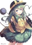 1girl :d absurdres alternate_hair_length alternate_hairstyle commentary_request eyeball hat highres kanzakietc komeiji_koishi long_hair looking_at_viewer open_mouth simple_background smile solo third_eye touhou white_background