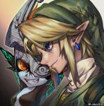 1boy 1girl arms_up bangs bibabunie blonde_hair colored_skin fang green_tunic grin hat highres imp link mask mask_over_one_eye midna multicolored multicolored_skin orange_eyes pointy_ears sidelocks simple_background smile the_legend_of_zelda the_legend_of_zelda:_twilight_princess tunic twitter_username two-tone_skin upper_body