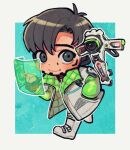 1boy apex_legends black_eyes black_gloves black_hair boots chibi crypto_(apex_legends) cyborg drone flying gloves green_sleeves hand_in_pocket holographic_monitor husagin jacket male_focus partially_fingerless_gloves pointing science_fiction solo white_footwear white_jacket