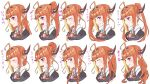 1girl ahoge alternate_hairstyle black_hairband blonde_hair braid closed_eyes dragon_girl dragon_horns fang fang_out hair_behind_ear hair_bun hairband hololive horns kiryuu_coco kyou_fumei looking_ahead looking_to_the_side multicolored_hair multiple_views open_mouth orange_hair pointy_ears ponytail red_eyes side_ponytail skin_fang smile streaked_hair tied_hair translation_request twin_braids twintails virtual_youtuber