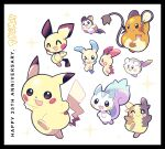 :3 :d anniversary artsy-rc character_request commentary copyright_name english_commentary gen_1_pokemon gen_2_pokemon gen_3_pokemon gen_7_pokemon gen_8_pokemon highres logo minun morpeko morpeko_(full) no_humans open_mouth pichu pikachu plusle pokemon pokemon_(creature) smile sparkle togedemaru trait_connection