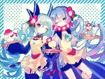 2girls apron bangs blue_eyes blue_hair blush border cup dress drink drinking_straw eyebrows_visible_through_hair flower food frilled_skirt frills garter_straps hair_flower hair_ornament hair_ribbon hibi89 hibiscus holding holding_tray long_hair long_sleeves looking_at_viewer merc_storia multiple_girls one_eye_closed parfait polka_dot polka_dot_background ribbon shaved_ice short_sleeves shorts skirt smile striped_border thigh-highs tray twintails very_long_hair violet_eyes yellow_apron