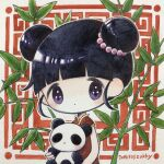1girl bangs black_hair blunt_bangs dated double_bun dress expressionless highres leaf no_nose original panda plant red_dress short_sleeves signature solo violet_eyes zukky000