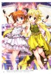 2girls :d absurdres blonde_hair blue_eyes border brown_hair dress fate_testarossa floating_hair fujima_takuya highres holding holding_microphone idol layered_dress long_hair looking_at_viewer lyrical_nanoha mahou_shoujo_lyrical_nanoha mahou_shoujo_lyrical_nanoha_detonation microphone multiple_girls open_mouth page_number polka_dot_border red_eyes shiny shiny_hair sleeveless sleeveless_dress smile sparkle stage standing standing_on_one_leg takamachi_nanoha twintails very_long_hair white_border white_dress yellow_dress