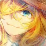 1girl artist_name blonde_hair blue_eyes brown_headwear character_name close-up closed_mouth commentary_request fangs hair_over_one_eye hat ina_(inarizusi1) jewelry long_hair looking_at_viewer lyza made_in_abyss pendant smile solo twitter_username