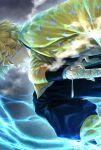 1boy agatsuma_zenitsu black_pants blonde_hair closed_eyes electricity highres japanese_clothes kimetsu_no_yaiba kneeling leaning_forward male_focus open_hand pants sheath sheathed smoke solo sword takeda_yuuko weapon