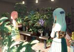 2girls aikawa_aika alice_gear_aegis bag blue_dress blue_hair braid closed_eyes dress flower highres holding lights looking_at_another multiple_girls ochanomizu_mirie open_mouth pink_hair plant potted_plant snlivis50 yellow_dress