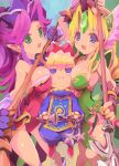 3girls angela_(seiken_densetsu_3) annoyed armor bangs blonde_hair blush breast_envy breasts brown_gloves charlotte_(seiken_densetsu_3) chibi collarbone eyebrows_visible_through_hair fingerless_gloves girl_sandwich gloves green_leotard highres holding holding_lance holding_polearm holding_staff holding_weapon lance leotard looking_up medium_breasts multiple_girls open_mouth parted_bangs pauldrons pointy_ears polearm purple_gloves purple_hair purple_headwear red_leotard riesz rudorufu sandwiched seiken_densetsu seiken_densetsu_3 shoulder_armor staff v weapon